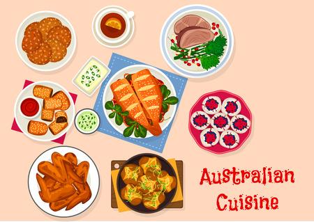 オーストラリア料理の伝統的な食べ物のアイコン デザイン