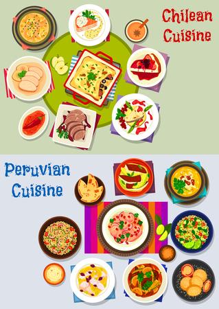 Chileense en Peruaanse gezond voedsel pictogramserie Stock Illustratie