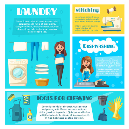 doing chores: Housewife doing household chores banner template