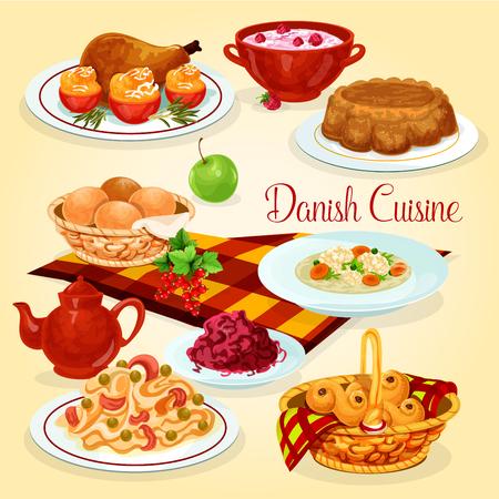 덴마크 요리 건강 도시락 요리 만화 아이콘