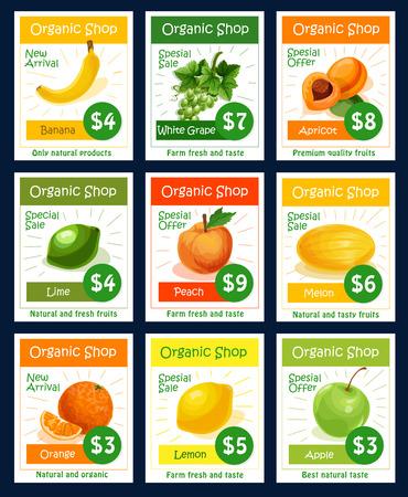 Fruit tag and label set for organic shop design Illustration