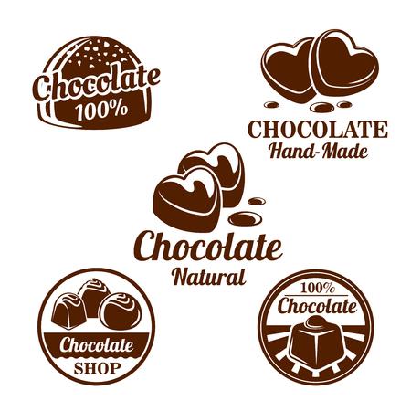 Chocolate, conjunto de símbolos de dulces de cacao para el diseño de alimentos Foto de archivo - 81628805