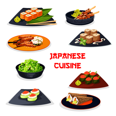 Japanese cuisine seafood sushi, meat dishes icon Stock Vector - 81629383