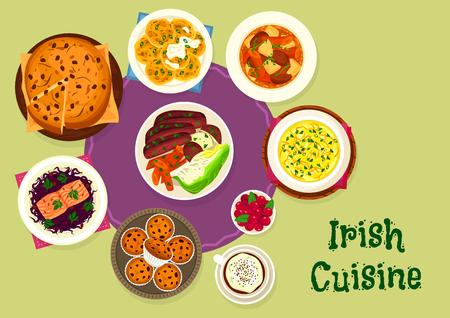 스칸디나비아 음식 디자인을위한 아일랜드 요리 아이콘 스톡 콘텐츠 - 81629348