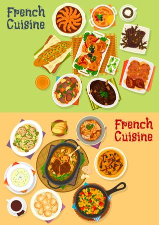 메뉴 디자인을위한 프랑스 요리 저녁 식사 아이콘 세트 일러스트