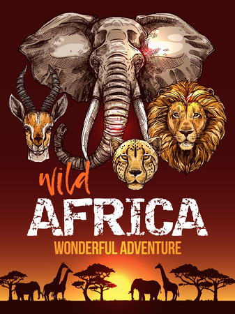 African safari poster with wild animals sketches Иллюстрация