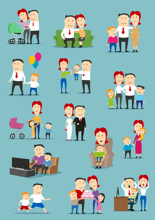 Family people with baby and kid cartoon set Stock Vector - 81629369