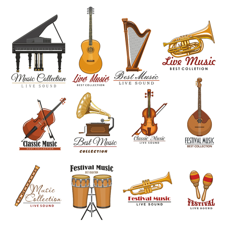Musical instrument symbol set for music design Stock Vector - 81630032