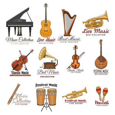 Muzikaal instrumentensymbool dat voor muziekontwerp wordt geplaatst