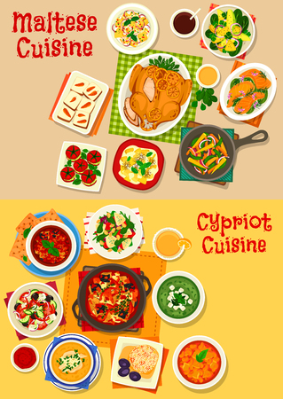 Cypriot and maltese cuisine icon set, food design Illustration