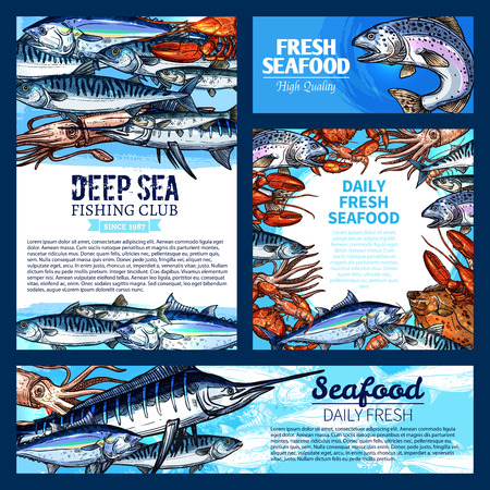 Fish and seafood, fishing club banner template set Illusztráció