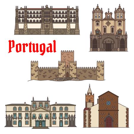포르투갈어 아키텍처 아이콘 집합의 여행 광경 일러스트