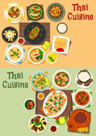 태국 요리 아이콘 맛있는 아시아 음식 디자인에 대 한 설정
