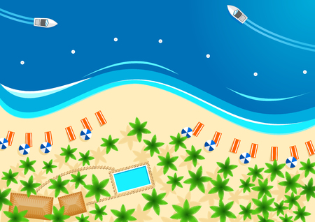 Tropical beach poster for summer vacation design Illustration