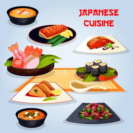 Cucina giapponese piatti popolari per l'icona del pranzo Archivio Fotografico - 81630519