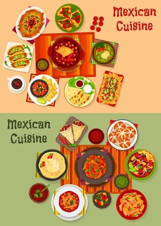 Mexicaanse keuken nationale diner gerechten icoon set