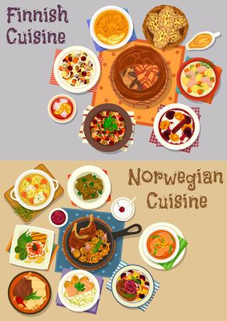 Finse en Noorse keuken diner icon set Stock Illustratie