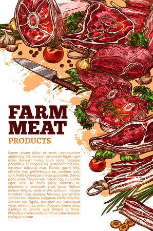 Producto de carne fresca del diseño de banner de granja orgánica