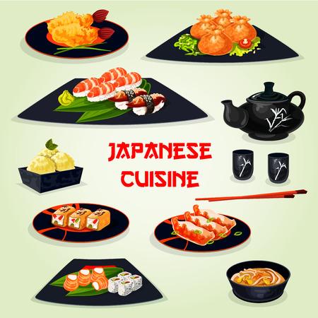 Japanese cuisine dinner with dessert cartoon icon Illustration