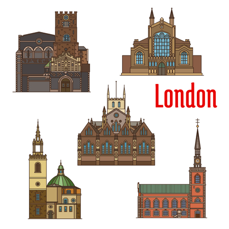 London travel landmark of british church icon set