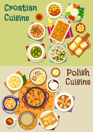 폴란드어와 크로아티아어 요리 아이콘 세트, 음식 디자인 일러스트