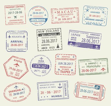 여행 디자인을위한 여행 비자의 여권 스탬프