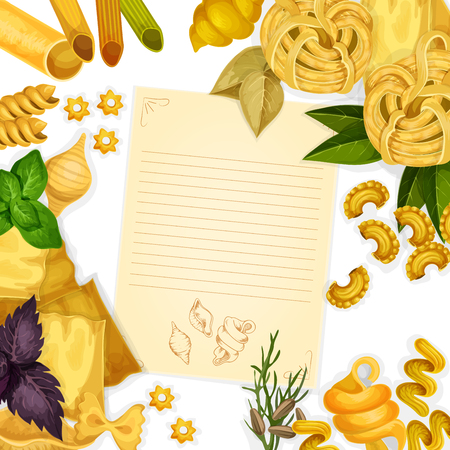 Pasta and herbs around paper with copy space