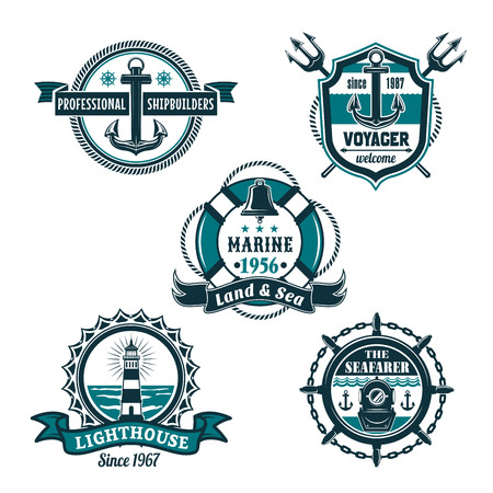 Nautical retro badge set, marine heraldry design