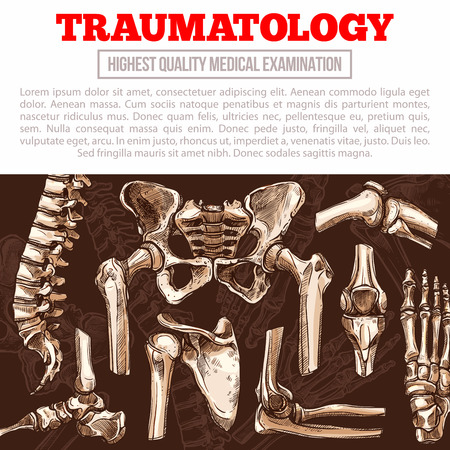 Traumatology medicine poster with bone and joint Illustration