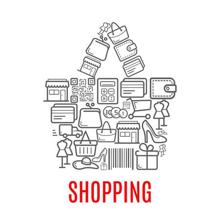 Boodschappentas symbool samengesteld uit verkoop pictogrammen Stock Illustratie