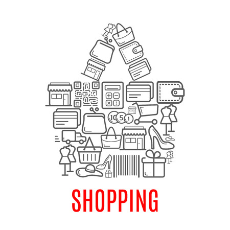 Shopping bag symbol made up of sale icons Illusztráció