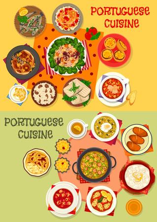 Portuguese cuisine seafood dinner menu icon set