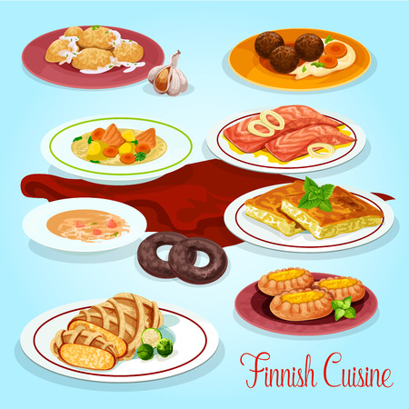 Finnish cuisine dinner dishes icon for menu design