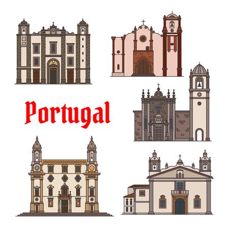 여행 디자인을위한 포르투갈 여행 랜드 마크 아이콘 일러스트