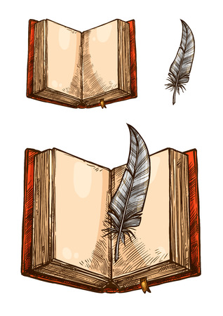 Open book with empty page and feather pen sketch Ilustração