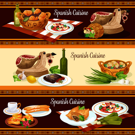 Spanish cuisine restaurant menu banner set design