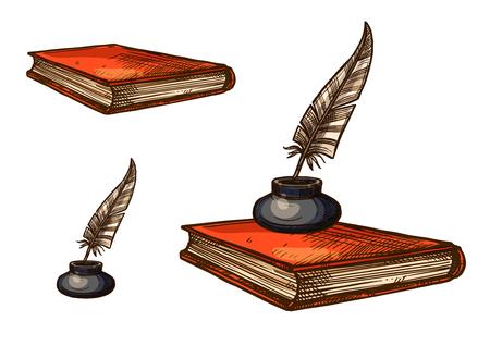 古い羽のペンとインク壺のスケッチ本します。  イラスト・ベクター素材