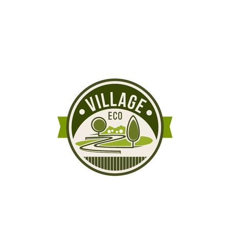 Eco dorp en groene natuur pictogram voor ecologie en milieu tuinieren vereniging of bedrijf. Vector geïsoleerd landschapsontwerp van parklandvierkant, bosbomen of tuin en bossen