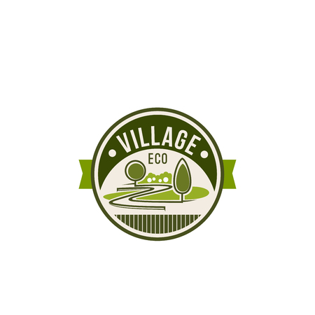 Eco village and green nature icon for ecology and environment gardening association or company. Vector isolated landscape design of parkland square, forest trees or garden and woodlands Illustration
