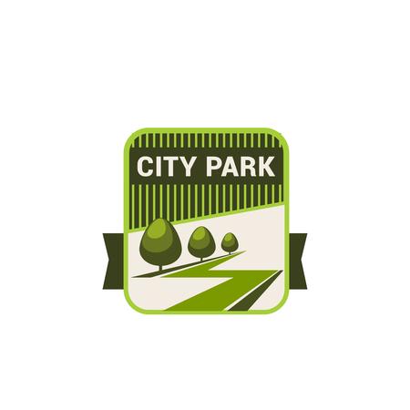 Groene stadspark en eco milieu en tuinieren bedrijf pictogrammalplaatje. Vector natuur landschap ontwerp voor parklandschap, ecologie bos bomen, tuin of bossen van stedelijke tuinbouw planten