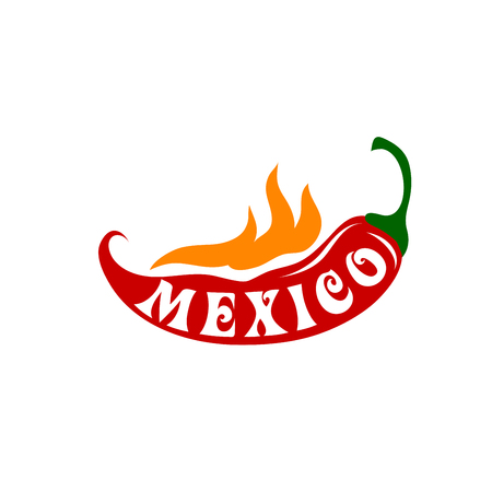 enchilada: Mexico icon of red hot chili pepper on fire flame for Mexican restaurant sign. Vector symbol or jalapeno pepper for Mexican cuisine cafe pub or tequila drink bar in national flag colors