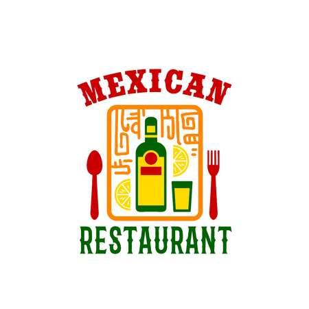 Mexican restaurant icon of tequila bottle and lime in glass. Vector spoon and fork with Aztec or Maya symbols for Mexican cuisine tacos salsa or traditional empanada menu or bar sign template