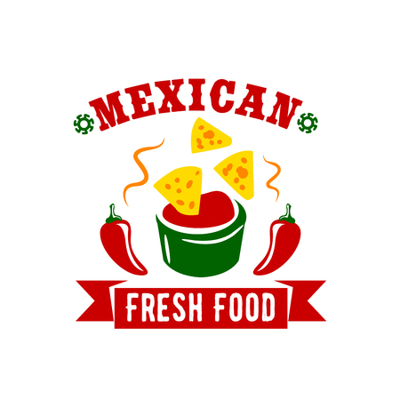 enchilada: Mexican fresh food or restaurant icon of nachos chips in salsa sauce of hot red spicy chili pepper or jalapeno. Vector isolated sign for Mexican fast food bar or snack and drink bar