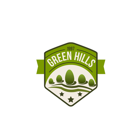 Vector eco green hills icon of forest nature