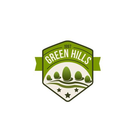 Vector eco groene heuvels pictogram van bos de natuur