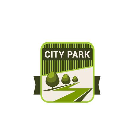 Stadspark aard en eco groene bomen vector pictogram