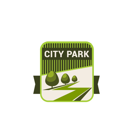 City park nature and eco green trees vector icon