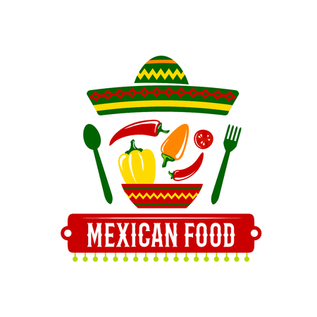 Vector icon for Mexican food restaurant Illustration