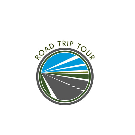 Vector road icon for trip tour or travel journey