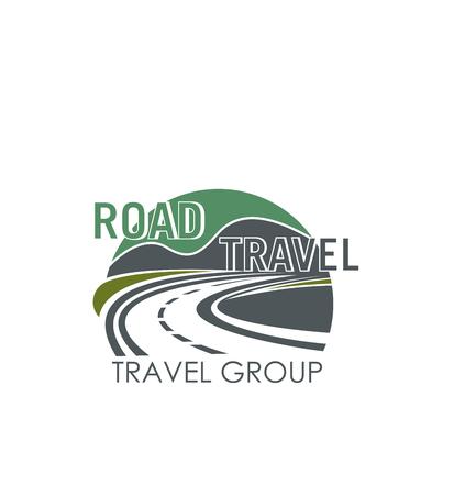 도로 여행 또는 관광 그룹에 대 한 벡터 아이콘 일러스트